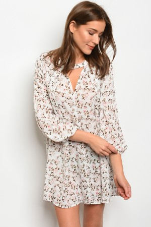 106-1-4-D10212 OFF WHITE FLORAL DRESS 1-2-2-1