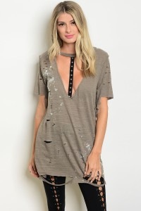 133-3-2-T41512 OLIVE DISTRESSED TEE TOP 3-3