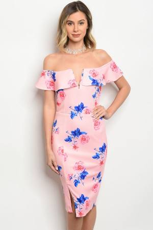 116-212-D10355 PINK WITH FLOWERS DRESS 2-2-2