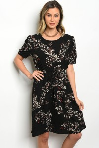 119-1-5-D0126 BLACK WITH FLOWERS DRESS 4-2-1