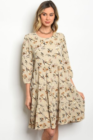 S5-3-5-D0145 BEIGE WITH FLOWER DRESS 2-2-2
