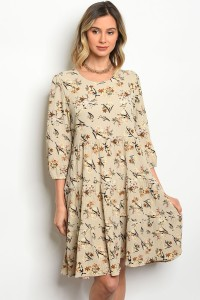 119-1-5-D0145 BEIGE WITH FLOWER DRESS 3-2-2