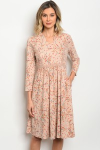 S5-3-2-D0022 TAUPE WITH FLOWER DRESS 3-2-1