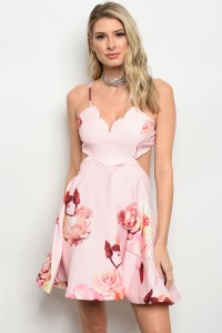 115-3-1-D8669 PINK WITH FLOWERS DRESS 2-2-1