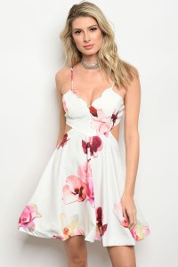 130-3-1-D8669 IVORY WITH FLOWERS DRESS 2-1-3