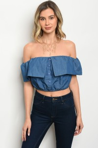 S4-3-1-T8674 BLUE DENIM TOP 3-2-1