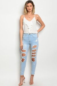 135-1-2-P9028 LIGHT BLUE DENIM DISTRESSED CAPRI PANTS 1-2-1-2-2-2-1-1-1