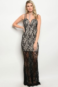 132-3-1-D1078 BLACK NUDE DRESS 2-2-2