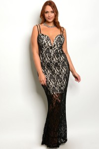 S5-3-5-D1078X BLACK NUDE PLUS SIZE DRESS 2-2-2