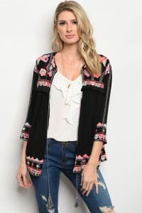 S5-3-4-T1042 BLACK EMBROIDERY CARDIGAN 2-2-2