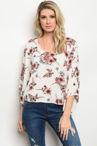 S5-3-4-T87125 OFF WHITE FLORAL TOP 2-2-2