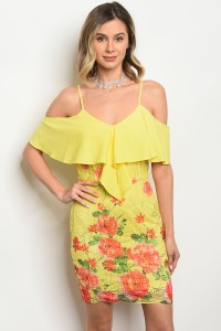122-2-2-D07210 YELLOW FLORAL DRESS 1-2