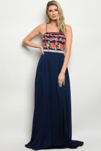112-1-3-D08950 NAVY WITH FLOWER PRINT DRESS 2-2-1