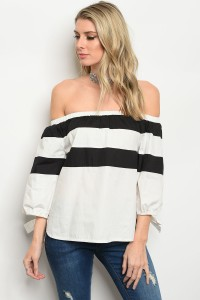 112-2-3-T1034 OFF WHITE BLACK POPLIN TOP 2-2-2