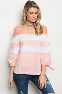 112-2-3-T1034 BLUSH WHITE POPLIN TOP 2-2-2