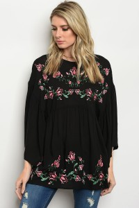 119-2-2-T6120 BLACK EMBROIDERY TOP 4-2-1