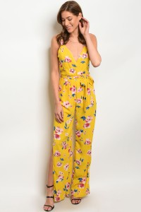 C91-A-1-J369 YELLOW FLORAL JUMPSUIT 2-2