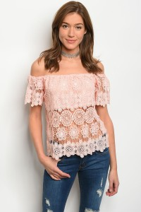 135-4-3-T8765 BLUSH OFF SHOULDER TOP 3-2-2