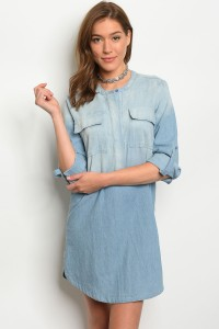 124-1-1-D7247 DENIM BLUE DRESS / 3PCS