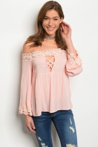 135-4-3-T8889 PINK OFF SHOULDER TOP 1-1-1