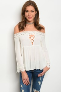 S2-7-1-T8889 IVORY OFF SHOULDER TOP 2-2-2