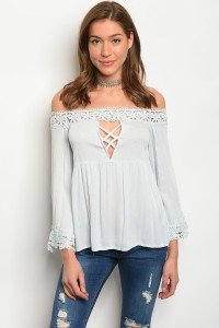 135-4-3-T8889 LIGHT BLUE OFF SHOULDER TOP 1-1-1