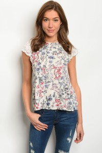 135-4-3-T8852 IVORY FLORAL TOP 1-1-1