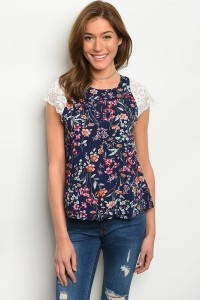 135-4-3-T8852 NAVY FLORAL TOP 2-2-3