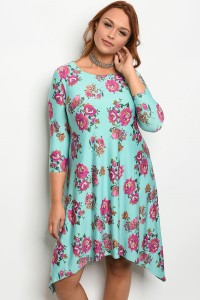 S8-14-5-D10012X AQUA FLORAL PLUS SIZE DRESS 2-2-2