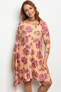 135-4-3-D10012X PEACH FLORAL PLUS SIZE DRESS 2-3-2