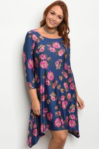 S2-10-2-D10012X NAVY FLORAL PLUS SIZE DRESS 2-2-2