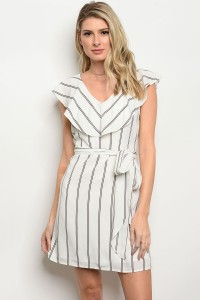 S4-2-1-D748201 OFF WHITE BLACK STRIPES DRESS 2-2-2-2