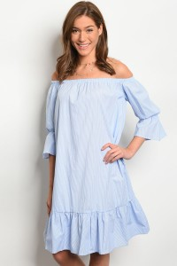 C64-A-1-D10833 LIGHT BLUE WHITE DRESS 2-3-2