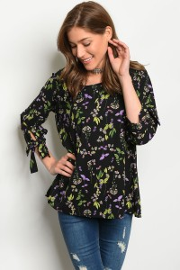 C78-B-3-T30377 BLACK WITH FLOWERS TOP 2-2-2