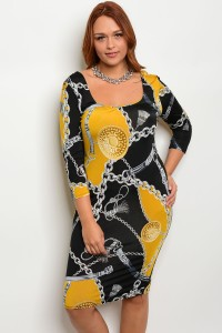 C18-A-5-GD6945X MUSTARD BLACK PLUS SIZE DRESS 2-2-2
