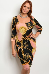 C16-A-4-GD6945X MAUVE BLACK PLUS SIZE DRESS 2-2-2