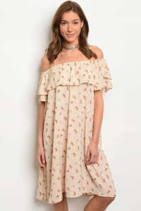 C79-A-3-D10450 BEIGE WITH BIRD PRINT DRESS 2-2-2