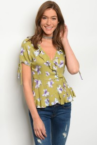 S8-13-5-NA-T70582 OLIVE FLORAL TOP 2-2-2