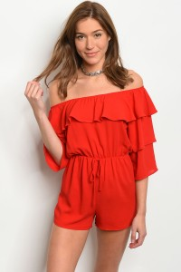 135-4-4-NA-R73165 RED OFF SHOULDER ROMPER 4-2-1