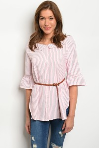 108-4-4-T1037 WHIET RED STRIPES TOP 2-2-2