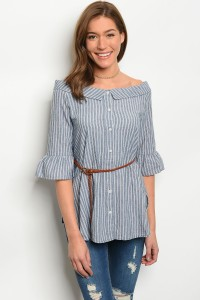 122-3-2-T1037 NAVY WHITE STRIPES TOP / 5PCS