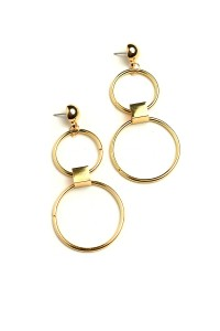 201-1-3-ER4991 DOUBLE HOOP DROP EARRINGS/12PCS