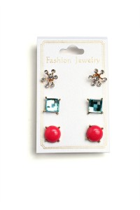 201-4-2-ER4234 TRIPLE SHAPE STONE EARRINGS/12PCS