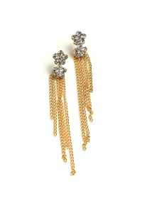 201-1-2-ER1053 CHAIN TASSEL STONE EARRINGS/12PCS