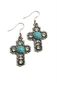 205-1-3-RER0252TQ CROSS SHAPE STONE & GEM EARRINGS/12PCS