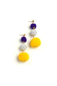 204-3-4-RER0400R9 DOUBLE FUZZBALL MULTI STONE DROP EARRINGS/12PCS