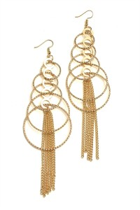 204-3-1-RER0653GS MULTI SIZE HOOP TASSEL DROP EARRINGS/12PCS