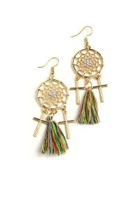 202-2-1-RER0784R3 DREAMCATCHER TASSEL DROP EARRINGS/12PCS