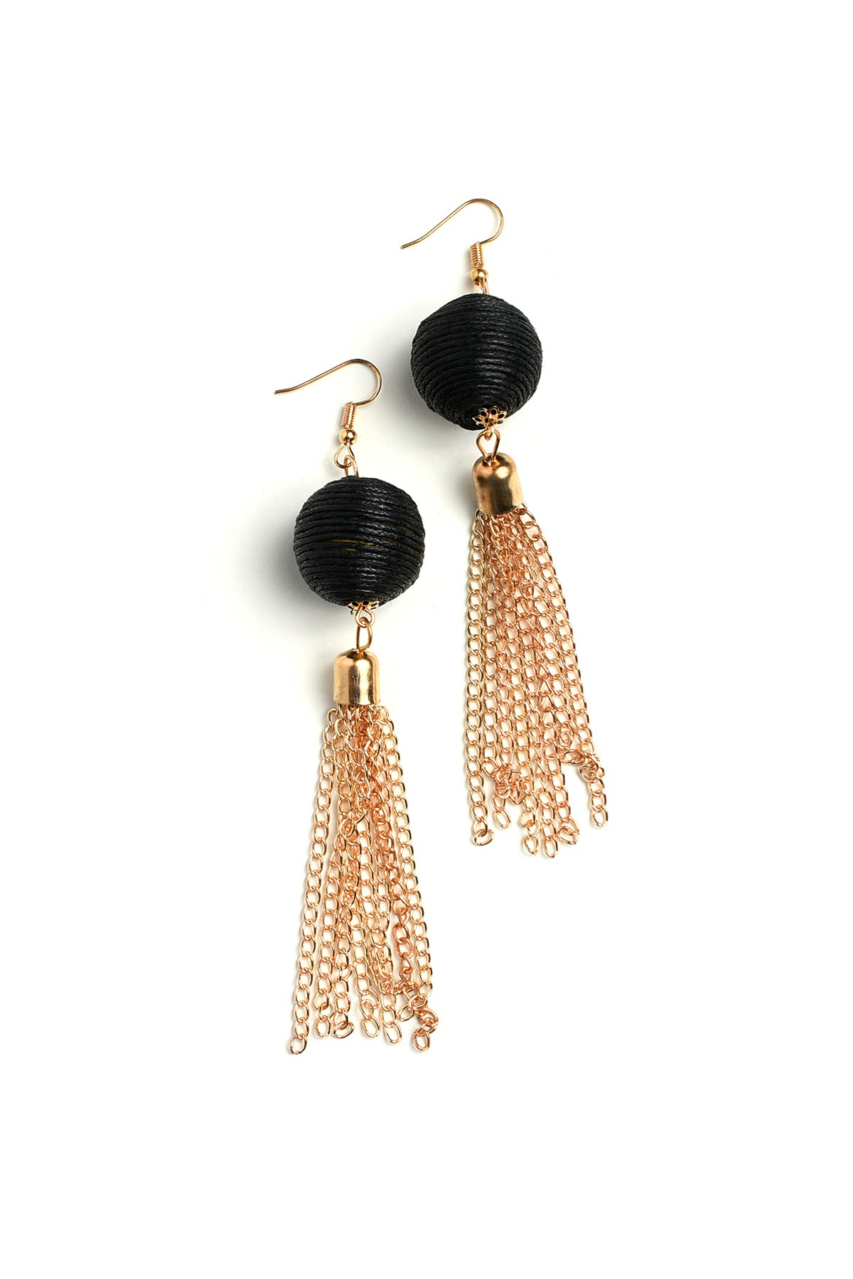 tassle ribbed earrings camel with cap leather tassel gold product