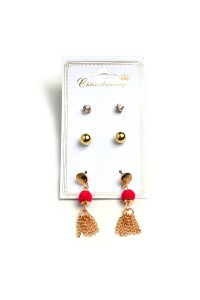 203-2-5-RER0088R6 PEARL STONE & TASSEL EARRINGS/12PCS